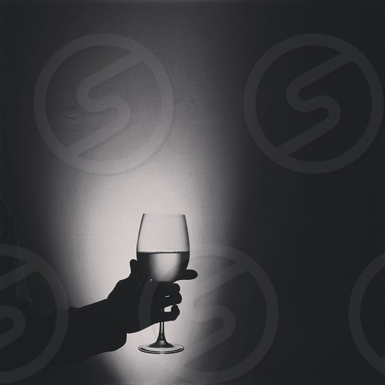 clear round based wine glass photo