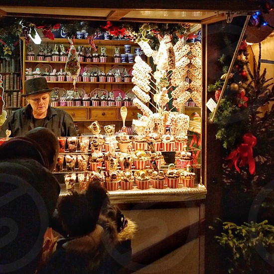 Buying candy at the Xmas market photo