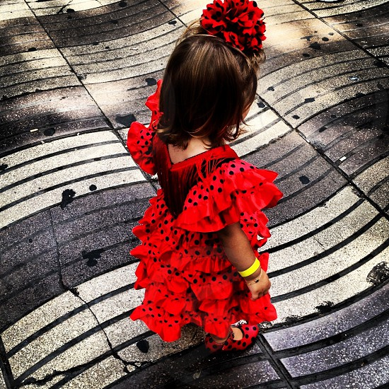 Little girl Las Ramblas Barcelona photo