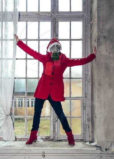 #Snapwire12days  Woman Christmas window costume hat photo
