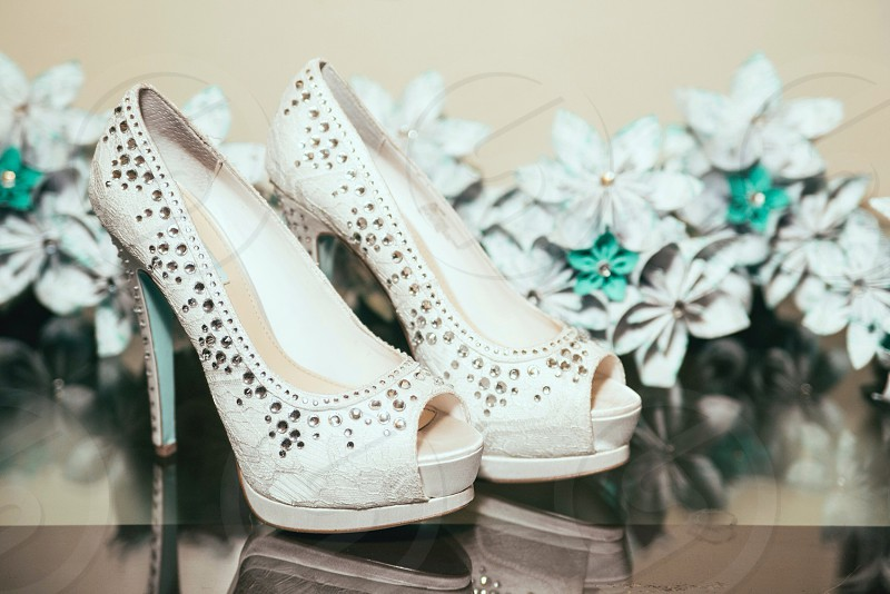 white peep toe heels with diamond studs embellished  photo