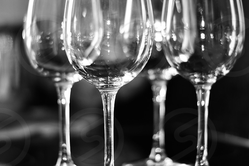 4 clear wine glasses greyscale photography photo