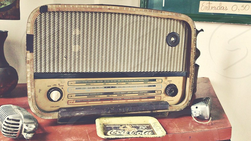 beige and black vintage radio photo
