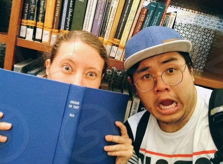 Best friends nerds library fun college kids photo
