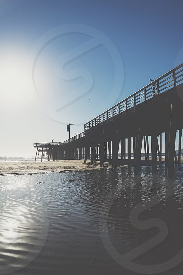 black wooden dock at the shore photo