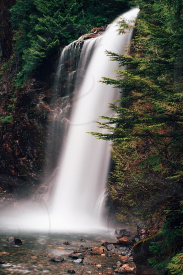 waterfalls in between trees nature photography photo
