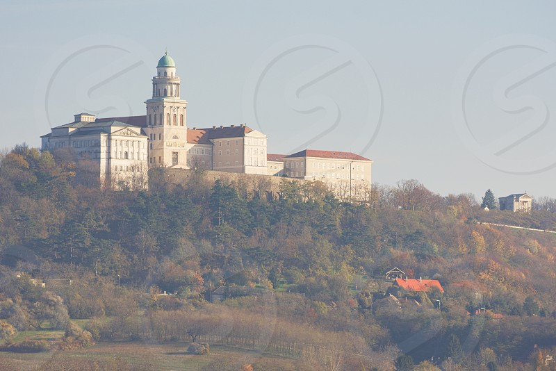 Benedictine Pannonhalma Archabbey in Hungary on an Autumn Day photo