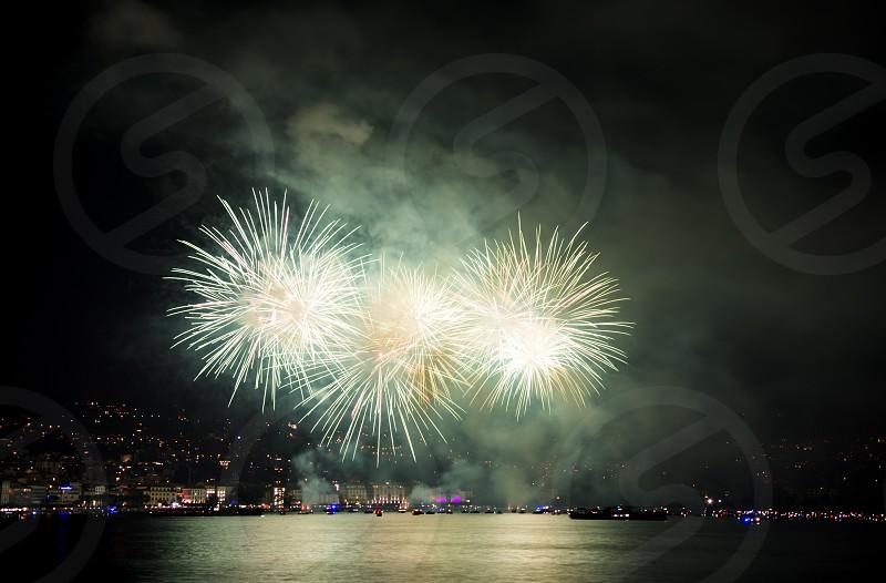 popular holiday fireworks 2017 in Lugano Switzerland photo