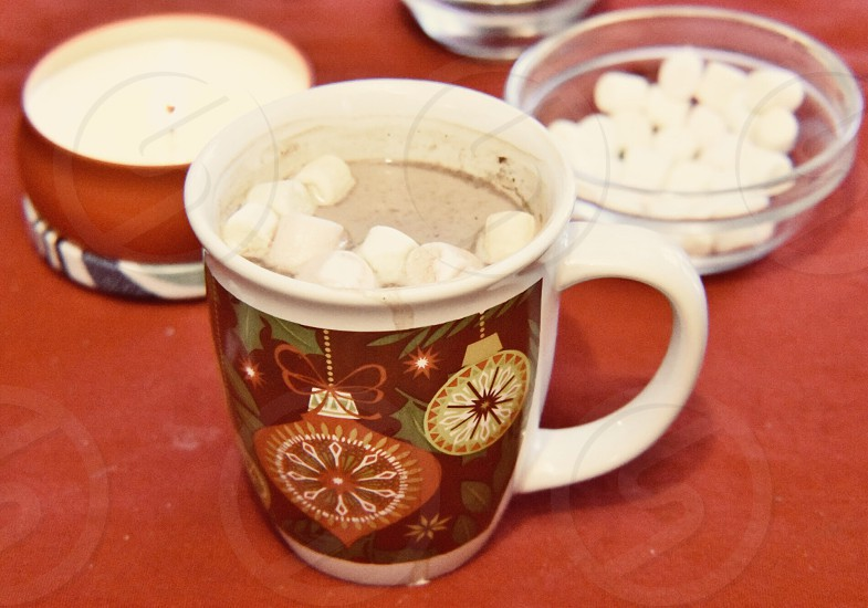 Warm winter beverage chocolate s'mores photo