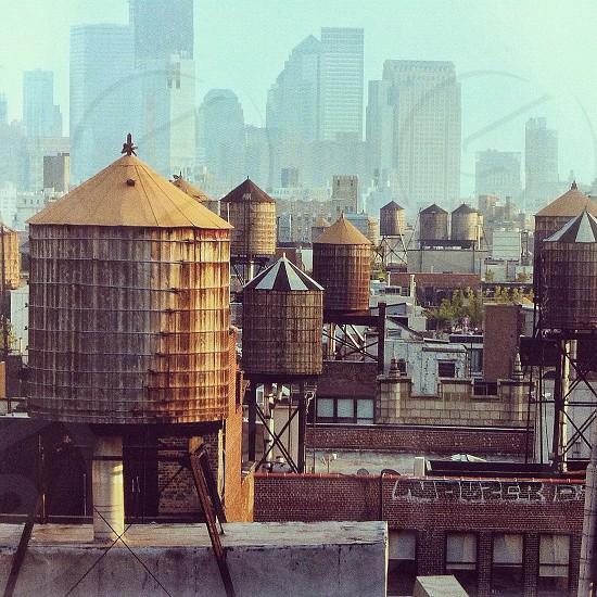 New York City water tower cityscape NYC Manhattan  photo