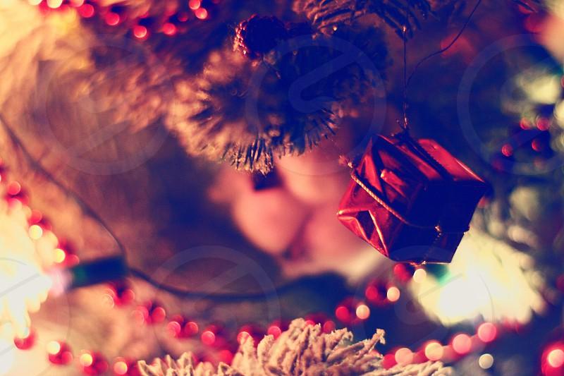 red mini gift box hanging on Christmas tree photo