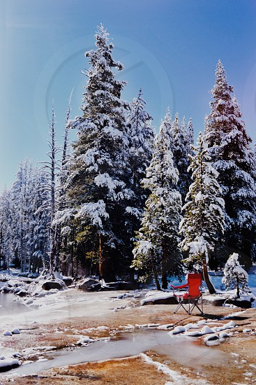 Snow red chair camping camp rest  photo