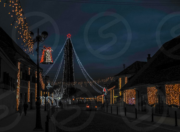 Christmas city - Cisnadie city Sibiu county Romania 450m 11-01-2014 photo