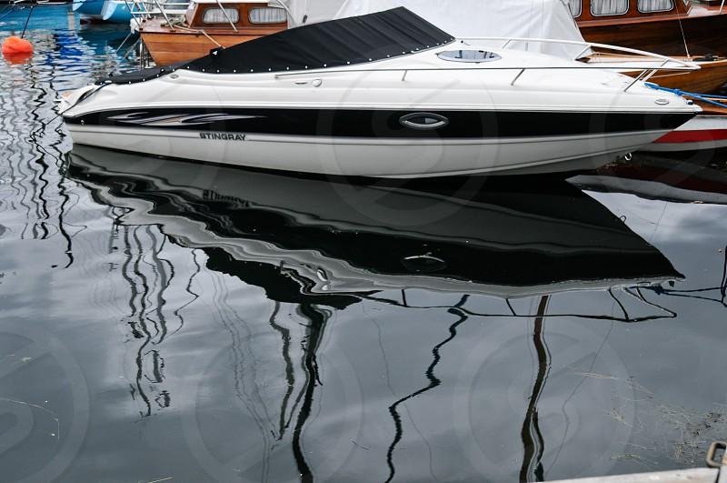White and black yacht photo