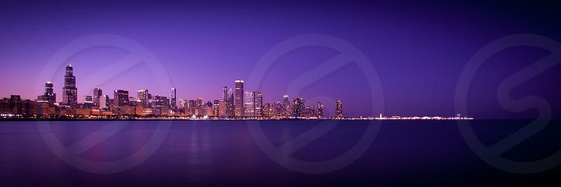 Chicago Skyline Lake Michigan Dusk Dawn Sears Tower photo