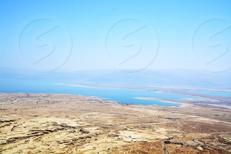 beach desert israel middle east ocean blue summer vacation mountains  photo