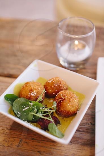 Fried potato puffs photo