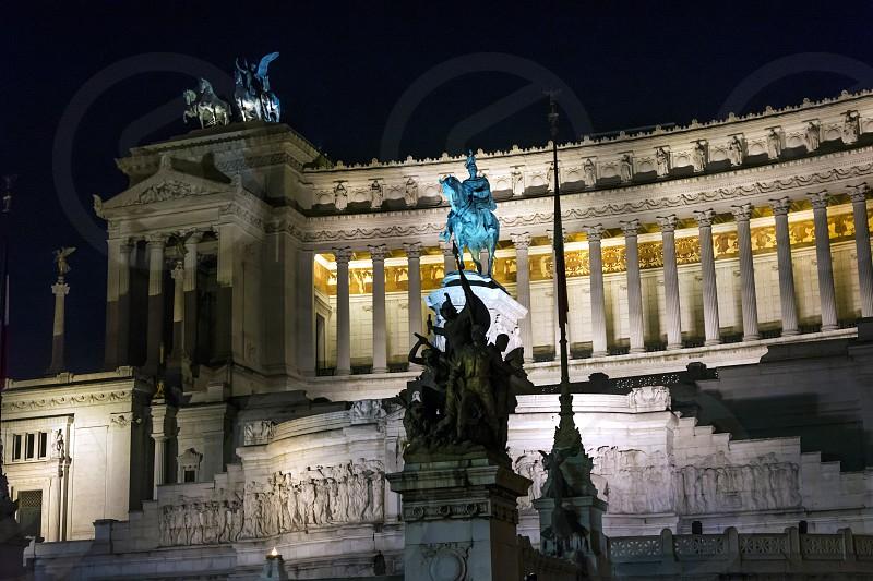 night scene at the bottom of Altar of Fatherland (Altare della patria)  photo