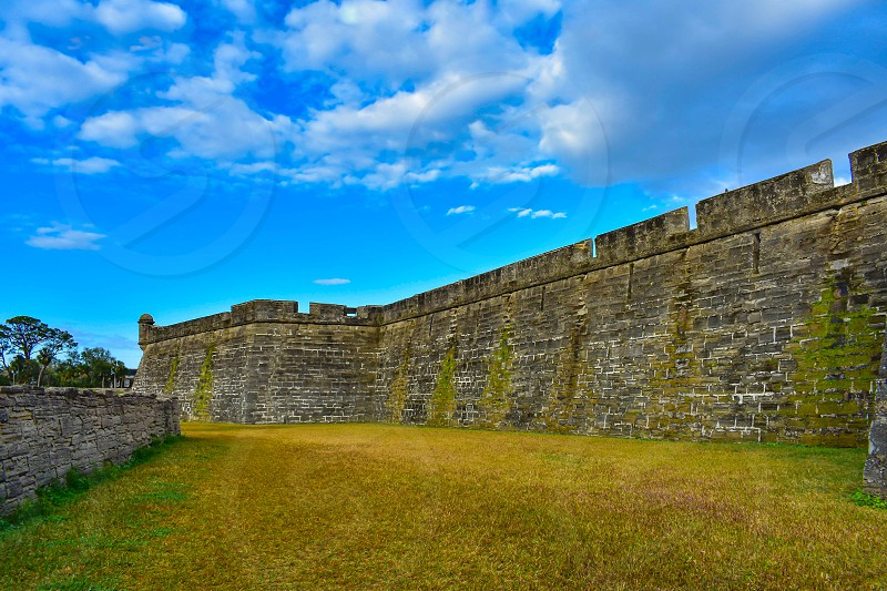 St. Augustine Florida. January 26  2019 . Side view of Castillo de San Marcos Fort at Old Town in Florida's Historic Coast . photo