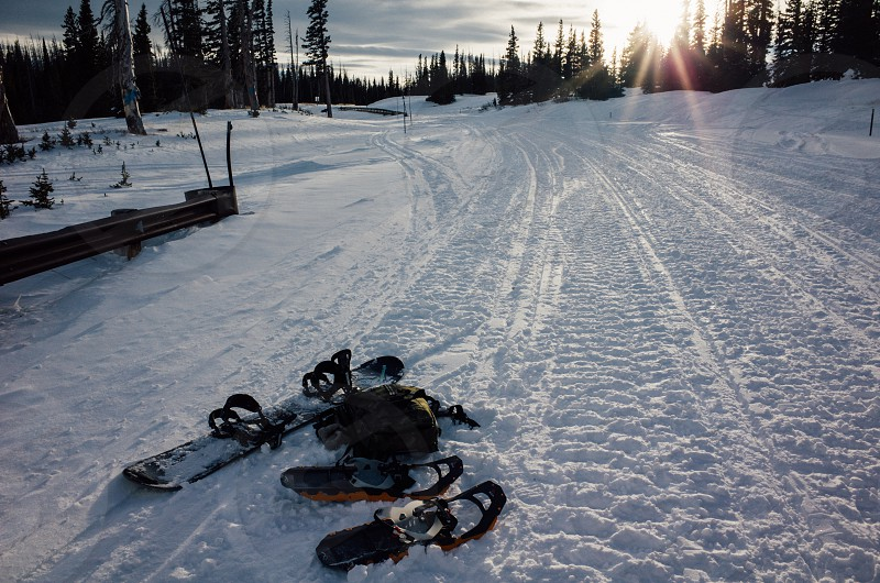 Snowboard snowshoe hike snow outdoors photo