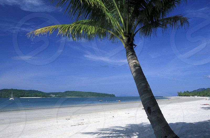 The Beach at Pantai Tanjung Rhu on the coast of Langkawi Island in the northwest of Malaysia photo