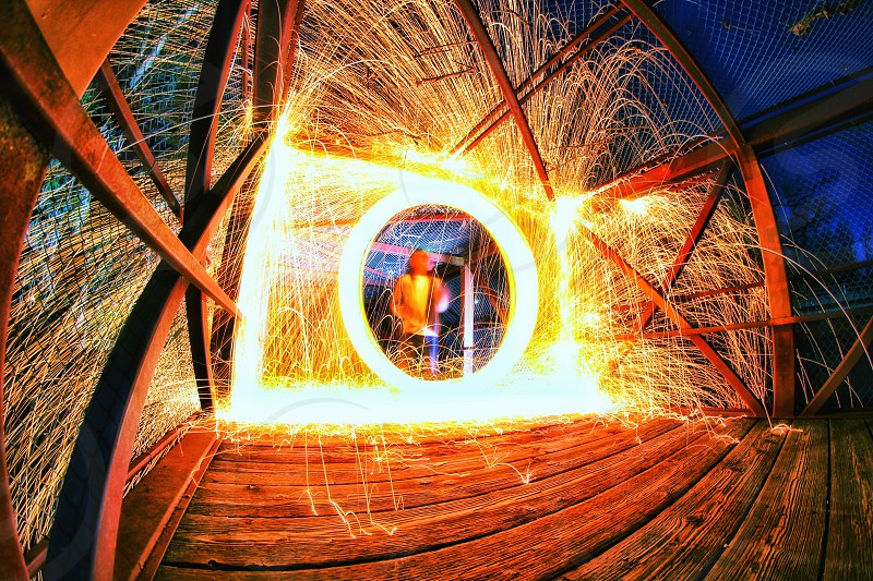 Steel Wool Nightshot Long Exposure Bridge Urban photo
