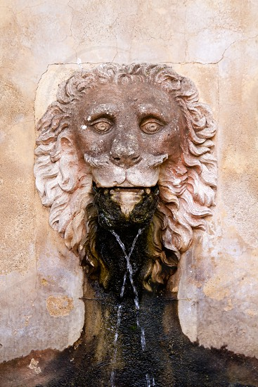 Lion stone sculpture fountain in Son Marroig at Deia Mallorca photo