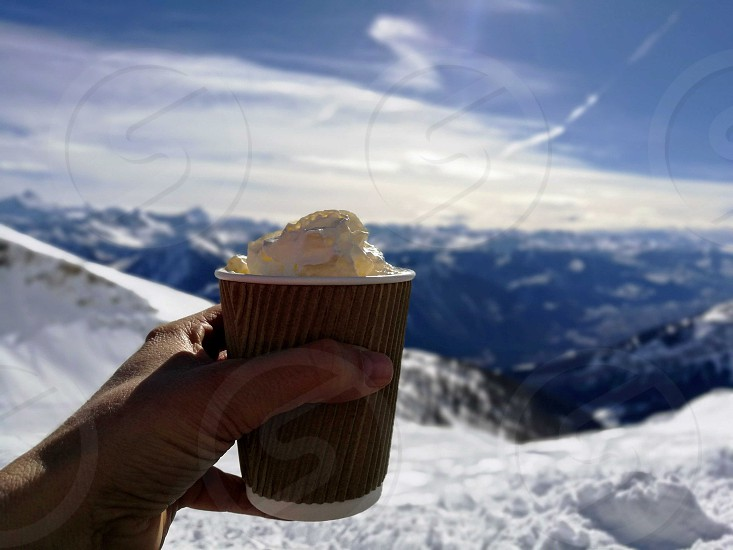 enjoying a coffee in the mountains photo