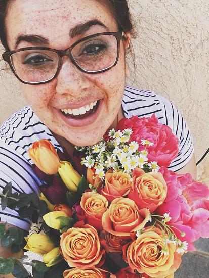 Selfie flowers glasses summer freckles photo