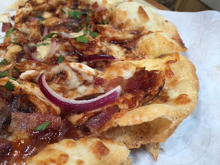 Barbecue chicken pizza thin crust. photo