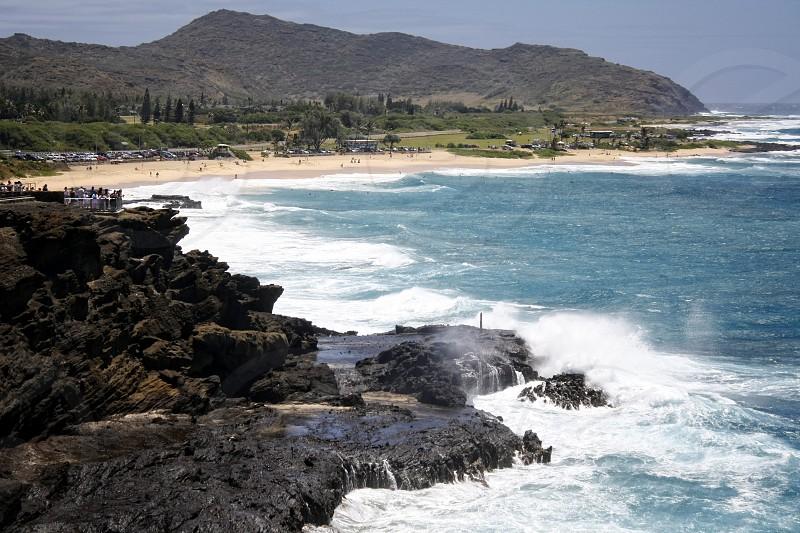 Hawaii Islands Kauai Beach Rocks photo