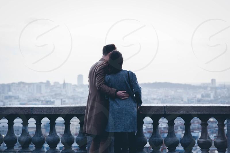 happy couple paris romantic love photo
