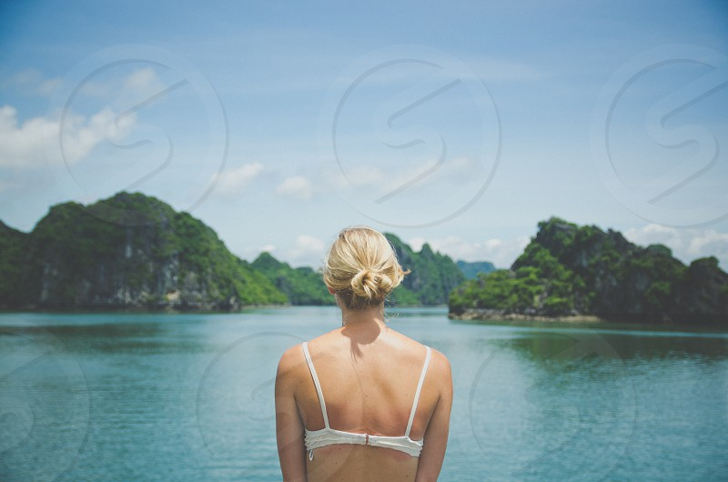 girl woman vietnam ha long bay ocean islands tropical vacation wanderlust travel boat photo