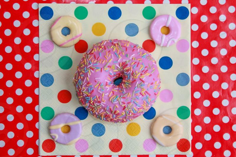 Spotty dotty colourful doughnut photo