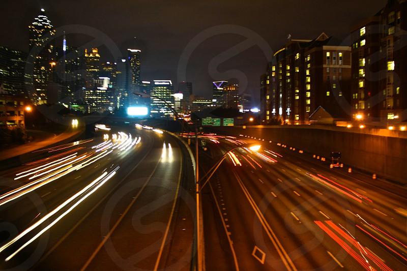 Nightly traffic under North Avenue Bridge in Atlanta Georgia. photo