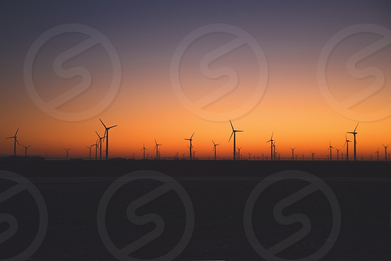 dawn photography of silhouette wind turbines photo