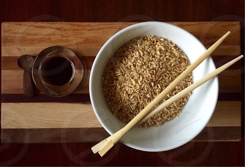 Monochrome brown neutral natural rice Bowl chopsticks wood healthy food photo