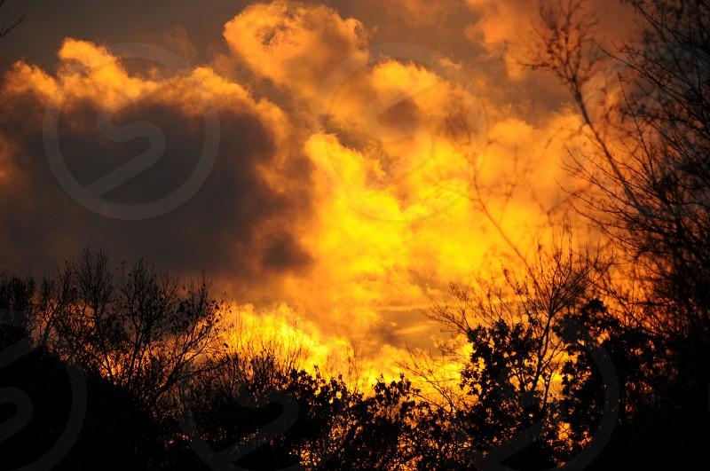 Fiery sunrise near a job site on Central Long Island New York. photo