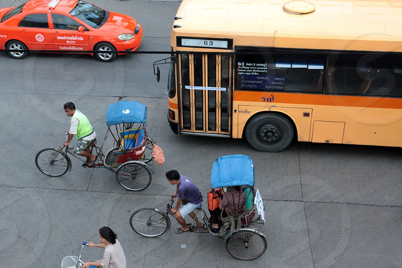 people transport at the Morningmarket in Nonthaburi north of the city of Bangkok in Thailand in Suedostasien. photo