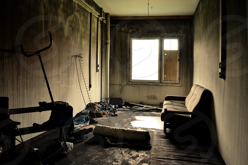 Burned out room in former photo lab near Berlin photo