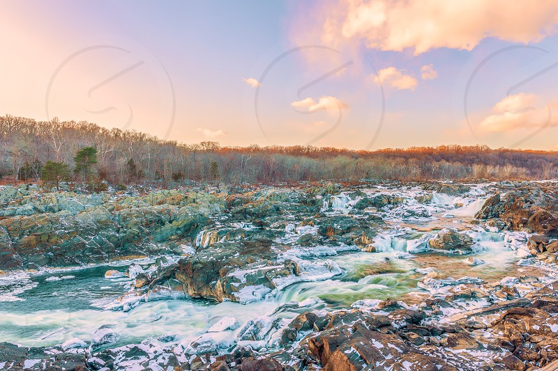 View of Great Falls of the Potomac River from Olmsted Island in winter. Maryland. USA.01/05/2018 photo