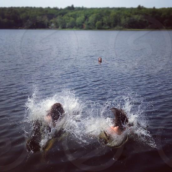 friends vacation lake summer splash swimming lakehouse maine photo