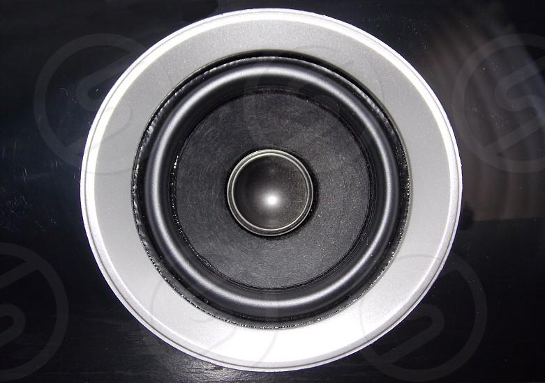 black and gray speaker photo