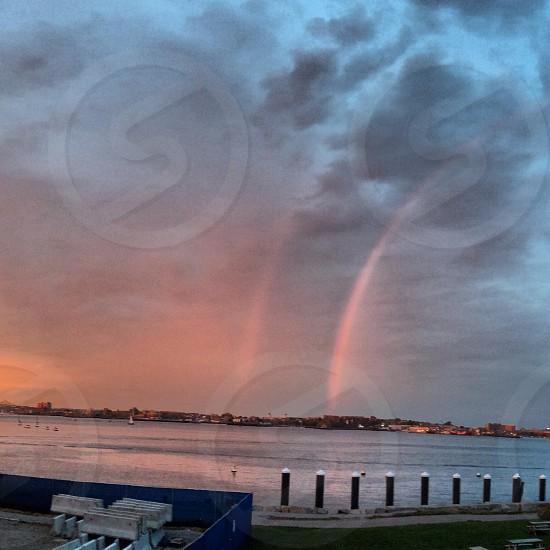 Double rainbow in Boston photo