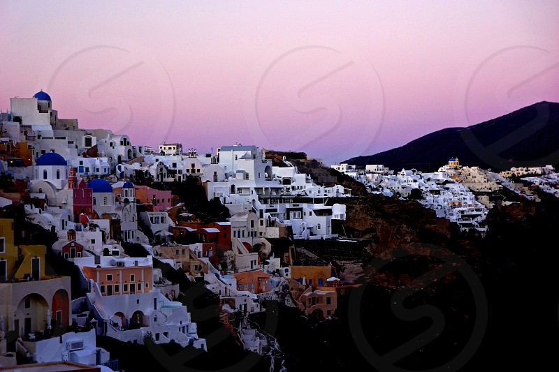 Santorini Oia at sunset photo