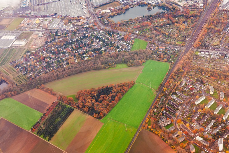 Aerial view of suburban area Dusseldorf Germany Europe with mixed residential industrial and agricultural zones photo