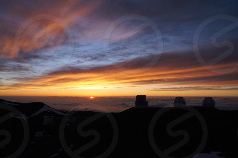 Sunset Mauna Kea Hawaii island Astronomical observatory  photo