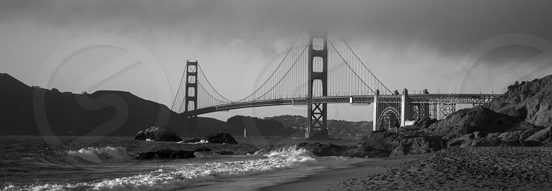 Black and White Panoramic Of the Golden Gate Bridge photo