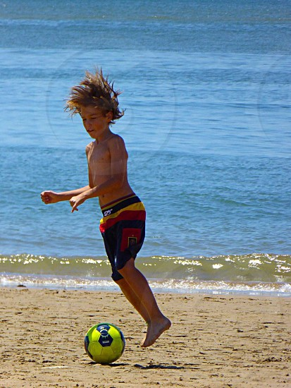 Football beach photo