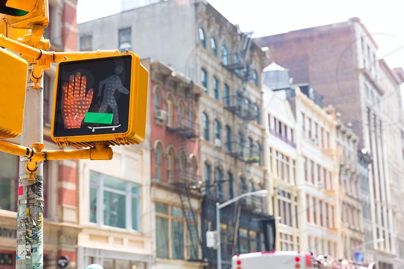Soho stop peaton red light in Manhattan New York City NYC USA photo